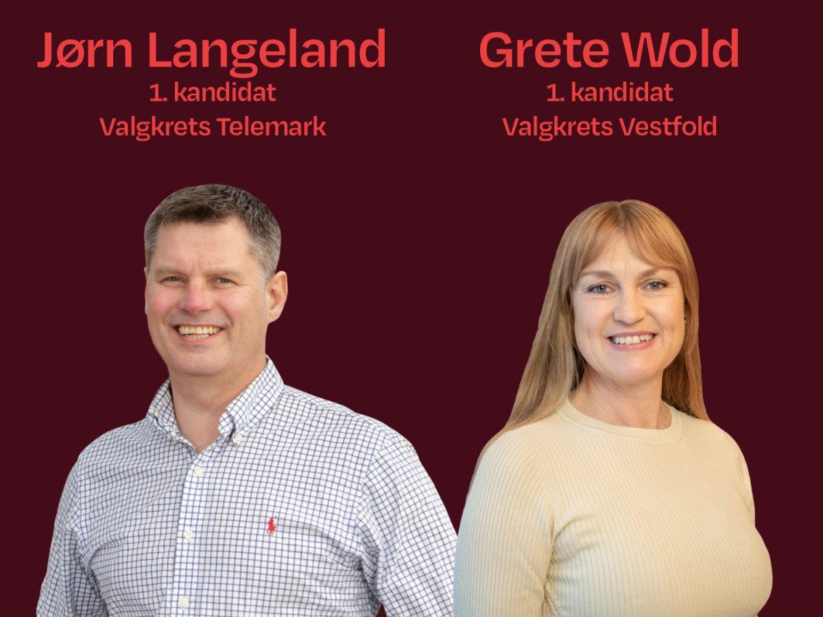 Jørn Langeland, 1. kandidat valgkrets Telemark og Grete Wold 1. kandidat Valgkrets vestfold. Grafikk og foto