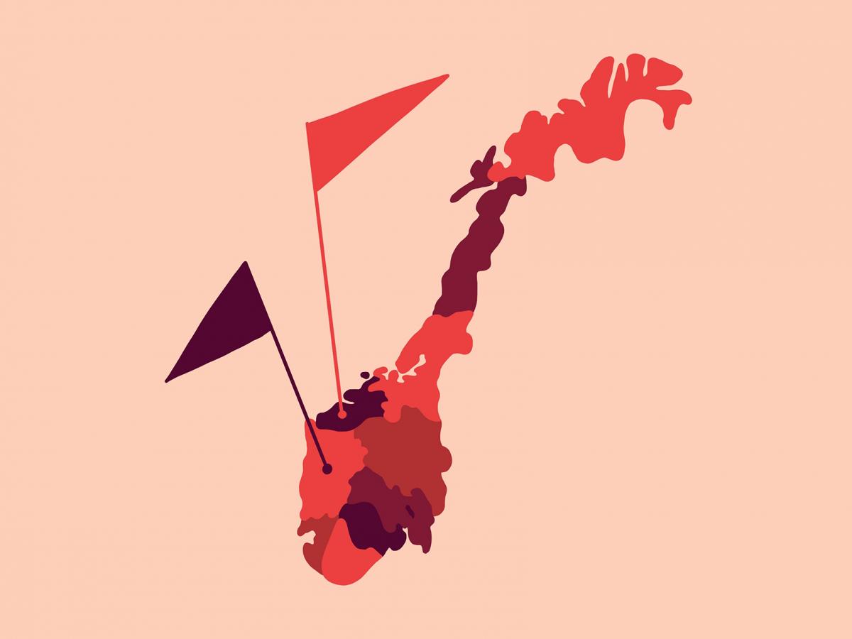 Norgeskart med markerte punkter. Illustrasjon